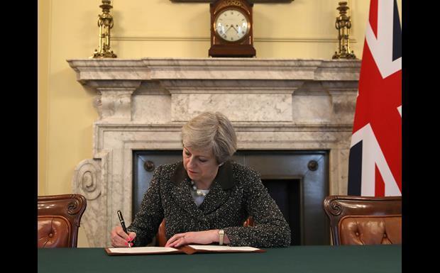 Theresa May signs Article 50_single use